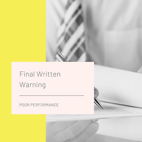 Final Written Warning-Poor Performance