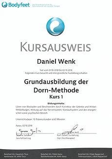 Kursausweis Dorn-Methode 1 Bodyfeet AG