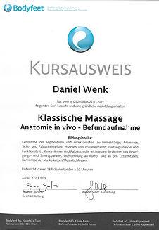 Klassische Massage Anatomie in vivo Befundaufnahme