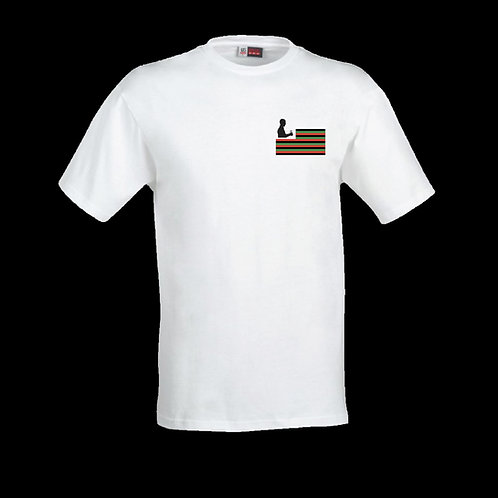 White Logo T-Shirt (Red, black and Green Flag)