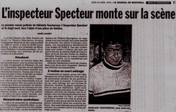 Article dans le Journal de Montréal sur le spectacle : L'Inspecteur Specteur et le doigt mort
