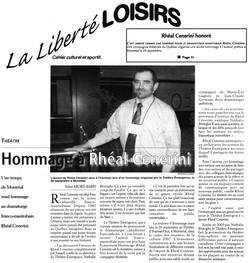 Article de presse sur le spectacle Hommage à Rhéal Cenerini