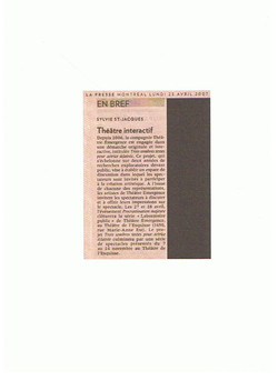 Article dans le journal La Presse