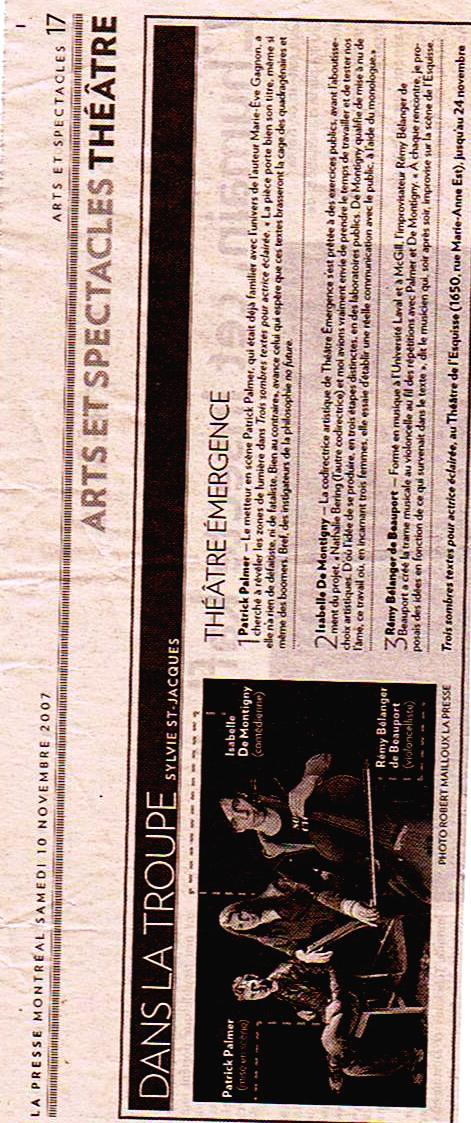 Article dans le journal La Presse sur le Théâtre Émergence