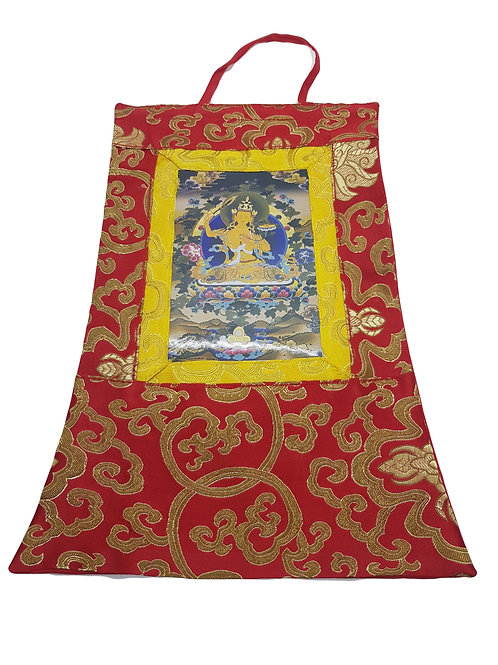 Thangka Tibetano in Seta Broccata Rossa Piccola