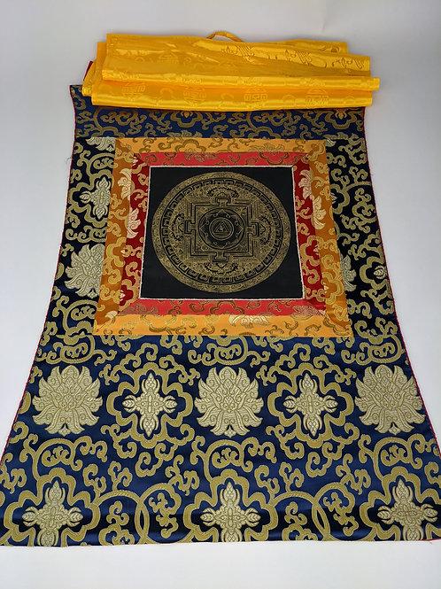 Thangka Tibetano Mandala Kalachakra Oro su sfondo Nero