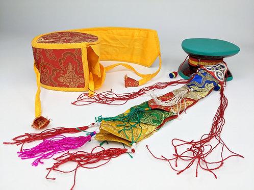 Damaru Tibetano con Custodia in Broccato