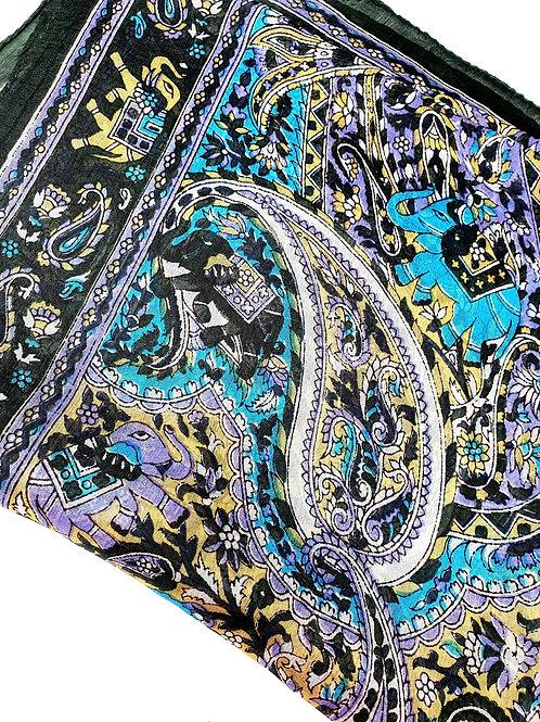 Foulard 100% Nero Elefanti Art.B8