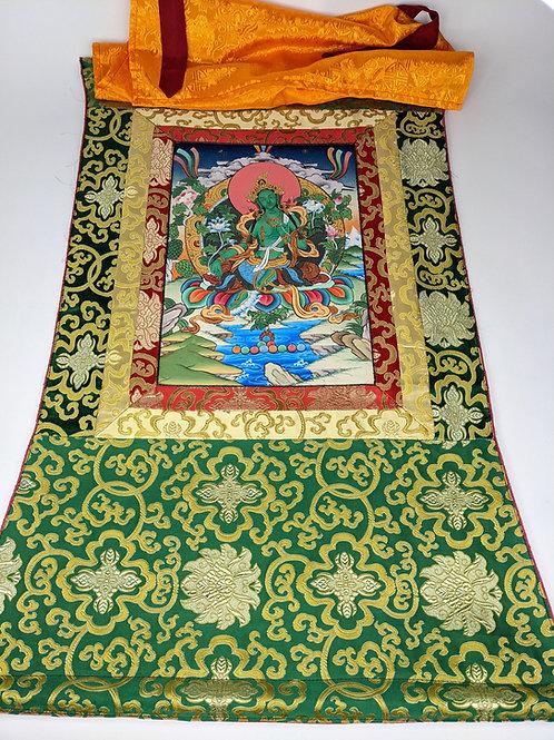 Thangka Tibetano Green Tara su Broccato Verde