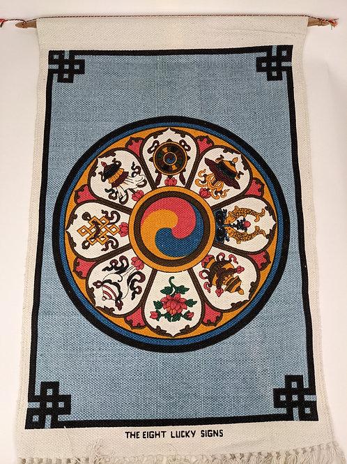 Thangka in Cotone Otto Simboli Tibetani e Fior di Loto