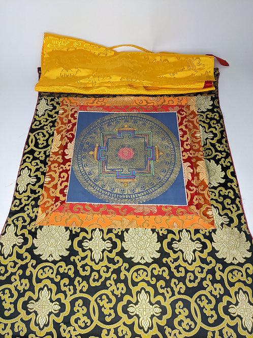 Thangka Tibetano Mandala Kalachakra sfondo Blu