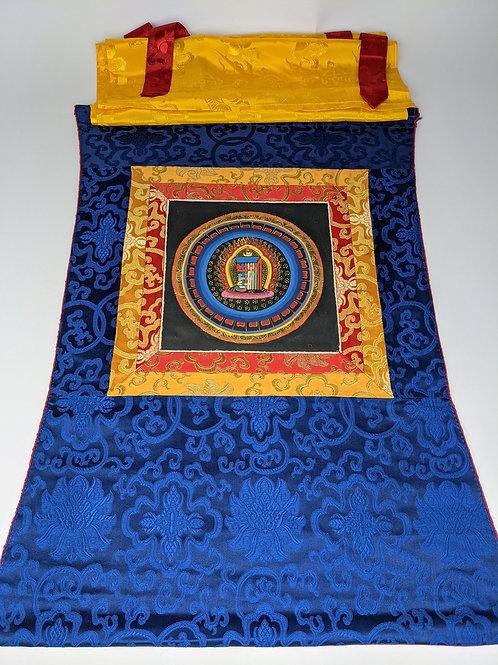 Thangka Kalachakra Symbol - Broccato Blu Medio