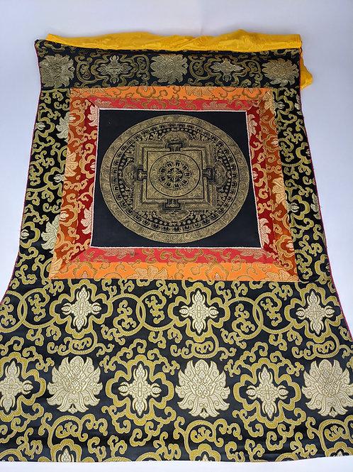 Thangka Tibetano Mandala Kalachakra Oro su sfondo Nero / Grande