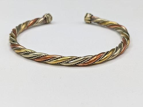 Bracciale rame spirale tre colori