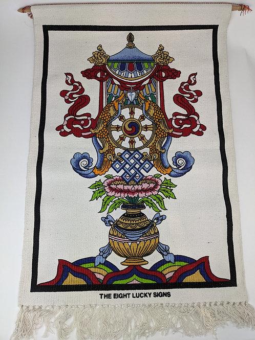 Thangka in Cotone Otto Simboli Tibetani