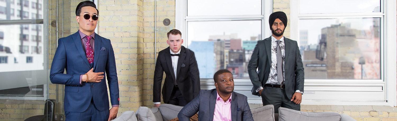 4 Men with Suits. Mono Uomo Menswear cover photo.