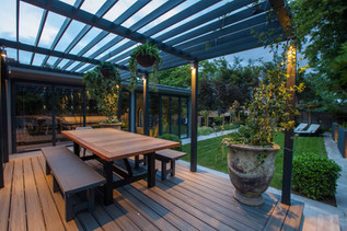 Chunky timber pergola on composite decking