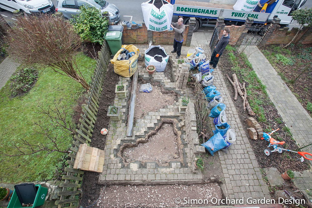Landscape contractors on site during garden build