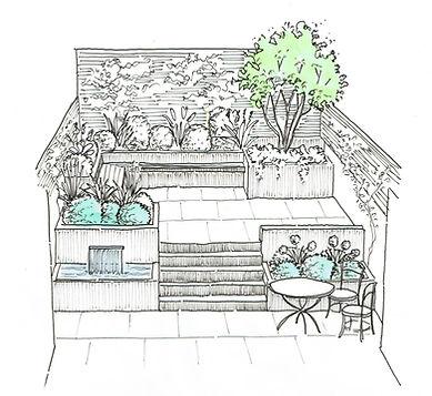 Courtyard garden design sketch with livi