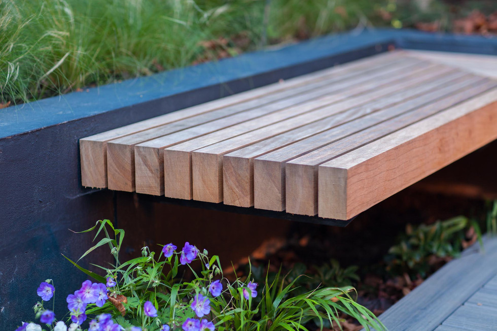Hardwood bench in garden