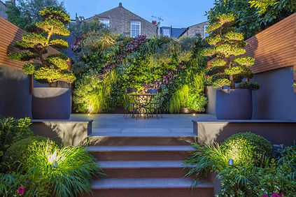 Urban garden with lighting