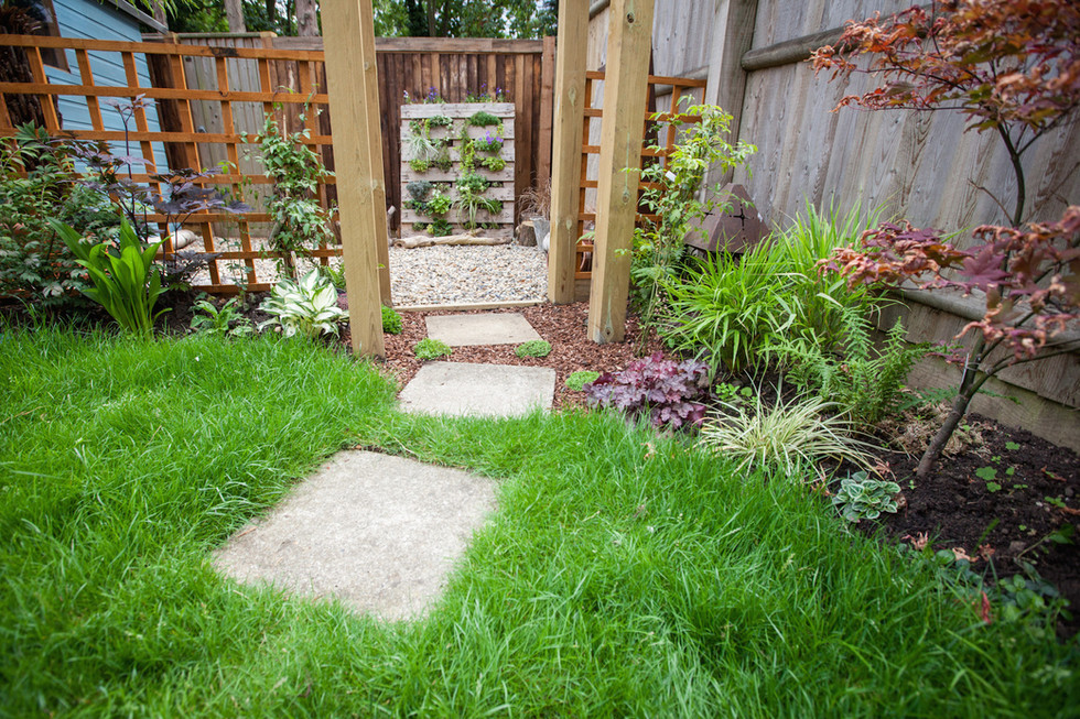 Paving stones in lawn