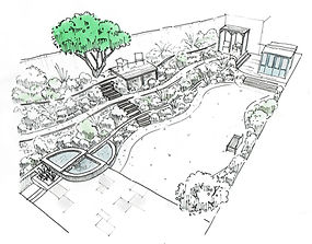 Terraced garden design by Simon Orchard