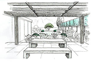 Garden design with pergola and pleached