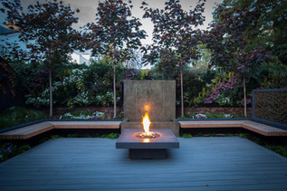 Sunken chillout area with fire table