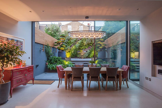 Courtyard garden with large living wall