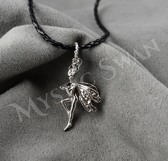 Clarity Frolicking Faerie Pendant in Sterling Silver