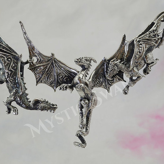 Dragon Necklace, Sterling Silver Fantasy Jewelry, 3 Dragon Bib Necklace, Dragon