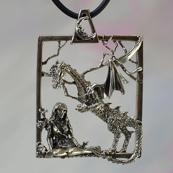 Dragon and Goddess Necklace, Sterling Silver Fantasy Jewelry, Renaissance Dragon