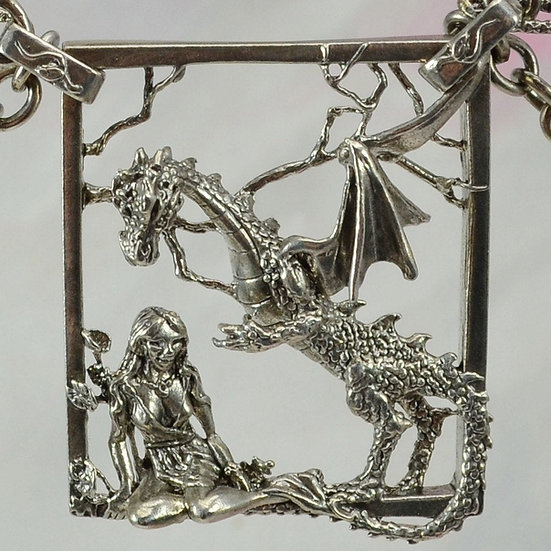 Dragon and Goddess Necklace, Sterling Silver Fantasy Jewelry with Attached Chain