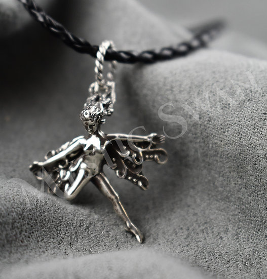 Spirit Frolicking Faerie Pendant in Sterling Silver