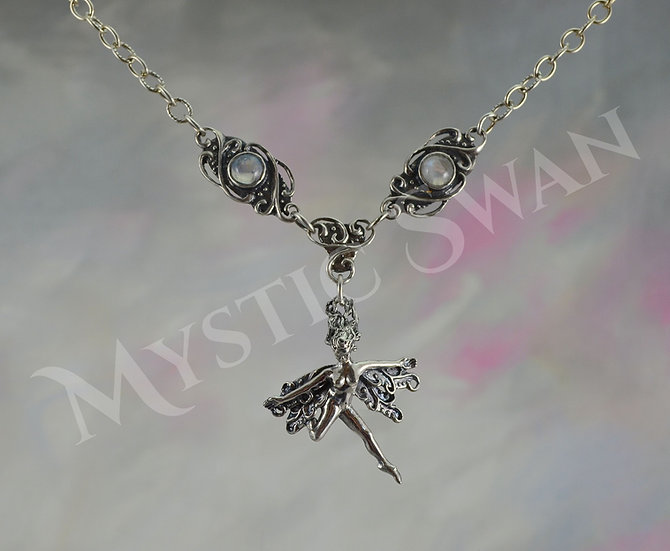 Frolicking Faerie Necklace with Single Faerie and Stone Accents