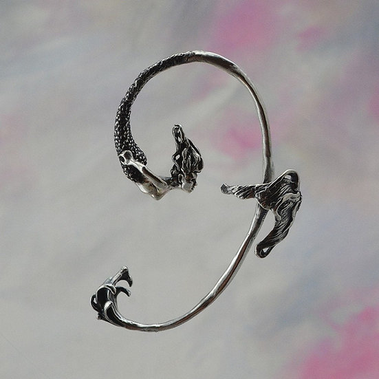 Sterling Silver Mermaid Ear Wrap, Magical Fantasy Jewelry