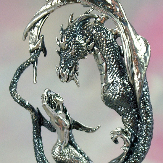 "Dragon and Mermaid Necklace, Sterling Silver Fantasy Jewelry, ""Enchantment"" Scul"