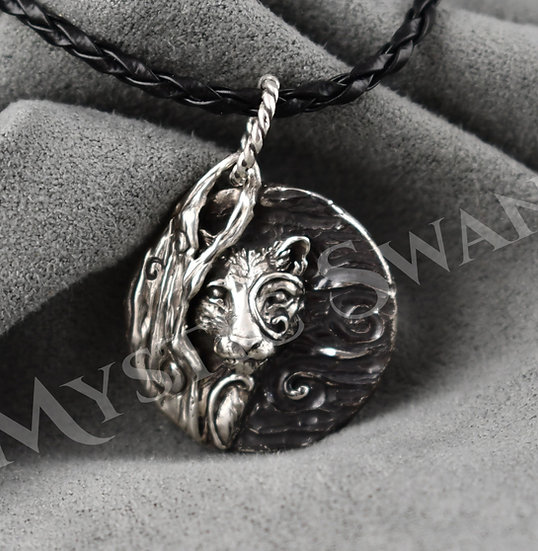 Spirit Cougar/Mountain Lion Necklace/Pendant in Sterling Silver