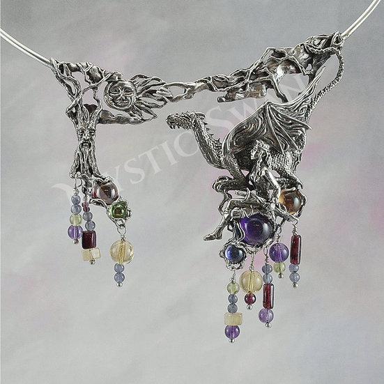 Dragon & Maiden Necklace, Sterling Silver Fantasy Jewelry, Dragon Bib Necklace w