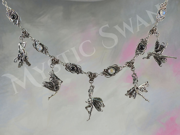 5 Faerie Fantasy Necklace in Sterling Silver with Accent Stones