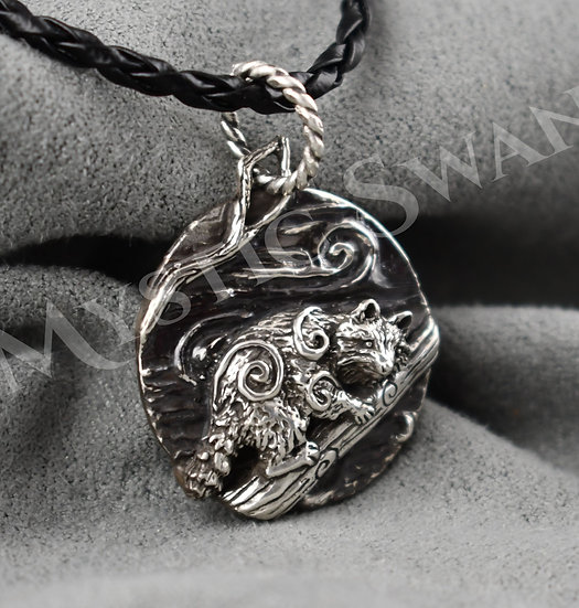 Spirit Raccoon Necklace/Pendant in Sterling Silver
