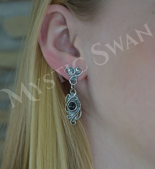 Scrollwork Earrings in Sterling Silver with Gemstone Accent