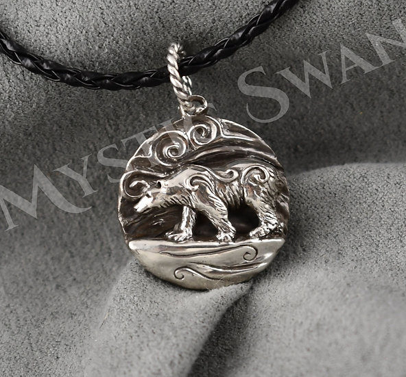 Spirit Polar Bear Necklace/Pendant in Sterling Silver