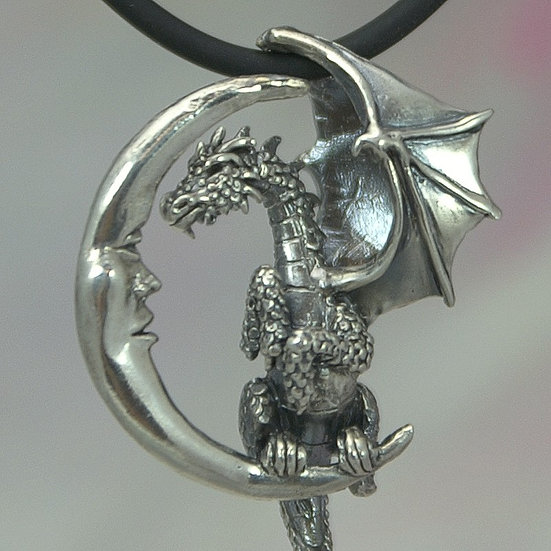 Lunar Dragon Necklace, Sterling Silver Fantasy Jewelry, Dragon and Moon Dimensio