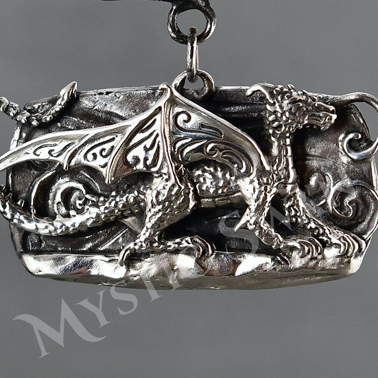 Dragon Necklace, Dragon Statement Necklace with Stone Accents, Sterling Silver F