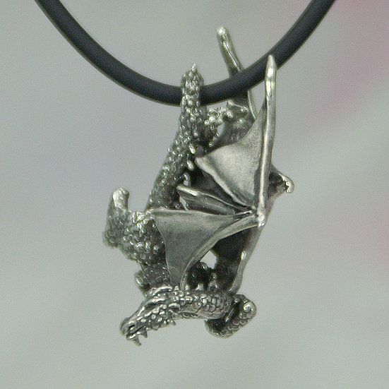 Diving Dragon Necklace, Sterling Silver Fantasy Jewelry, Renaissance Dragon Pend
