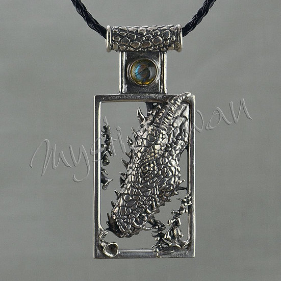 Dragon Necklace, Sterling Silver Fantasy Jewelry, Dragon Pendant with Stone Acce