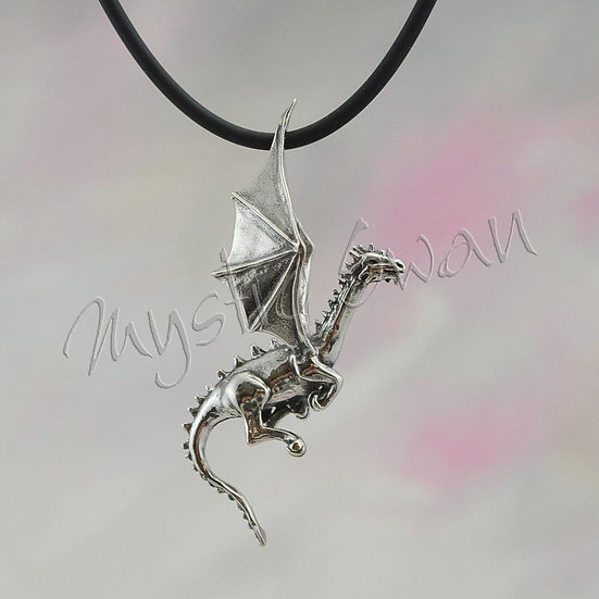 Dragon Necklace, Sterling Silver Fantasy Jewelry, Dimensional Flying Dragon Pend