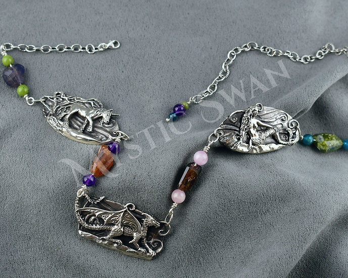 3 Mystic Beings Necklace -- Unicorn, Dragon and Mermaid -- in Sterling Silver